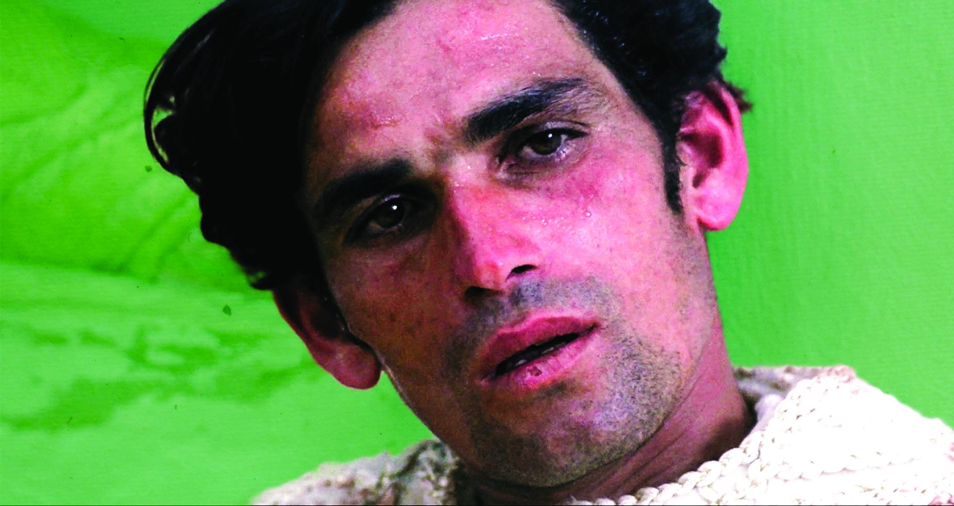 Portrait d'u homme aux cheveux bruns sur fond vert.
