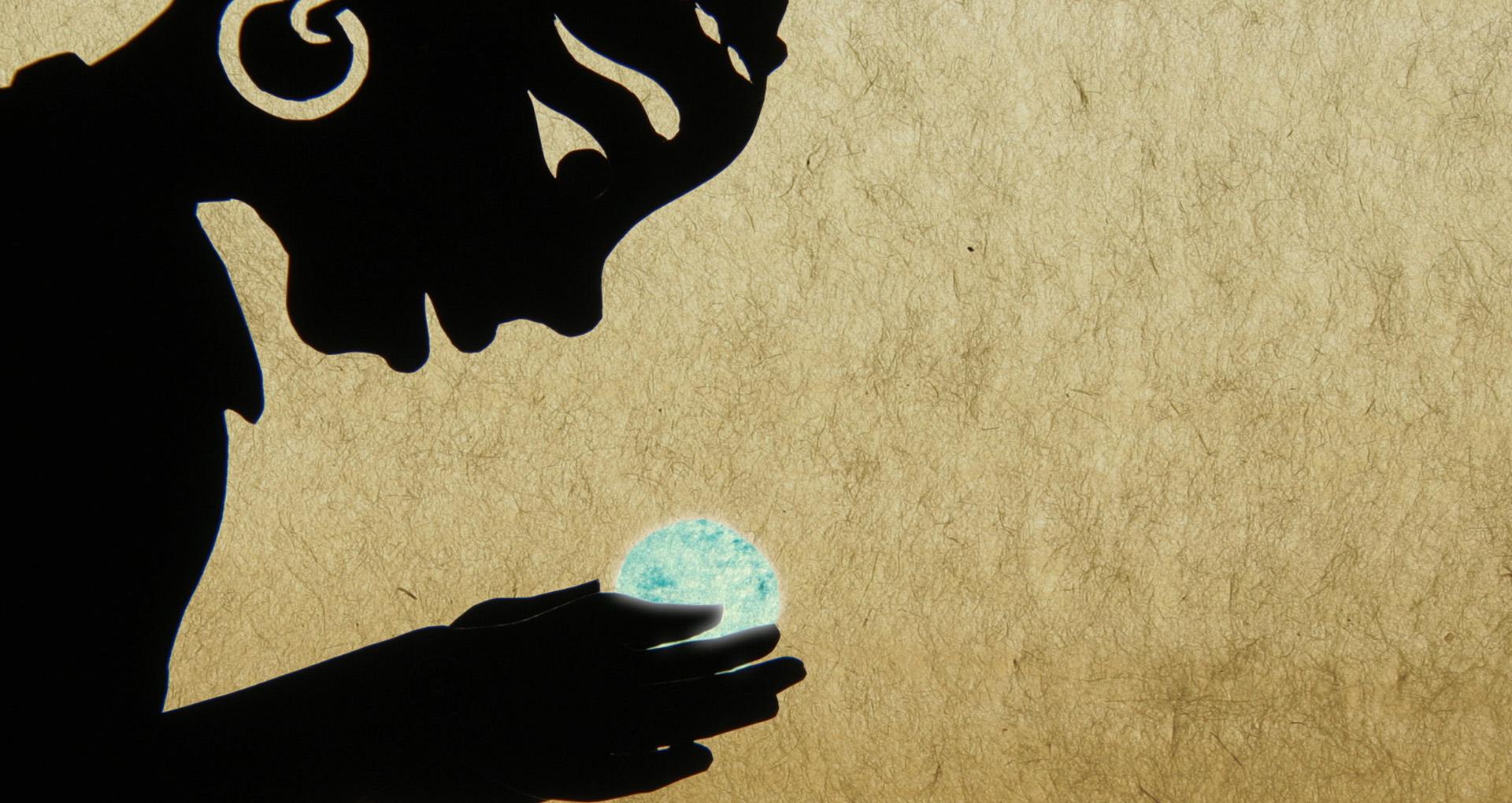 dessin, une petite fille noire tient une bille bleue dans les mains