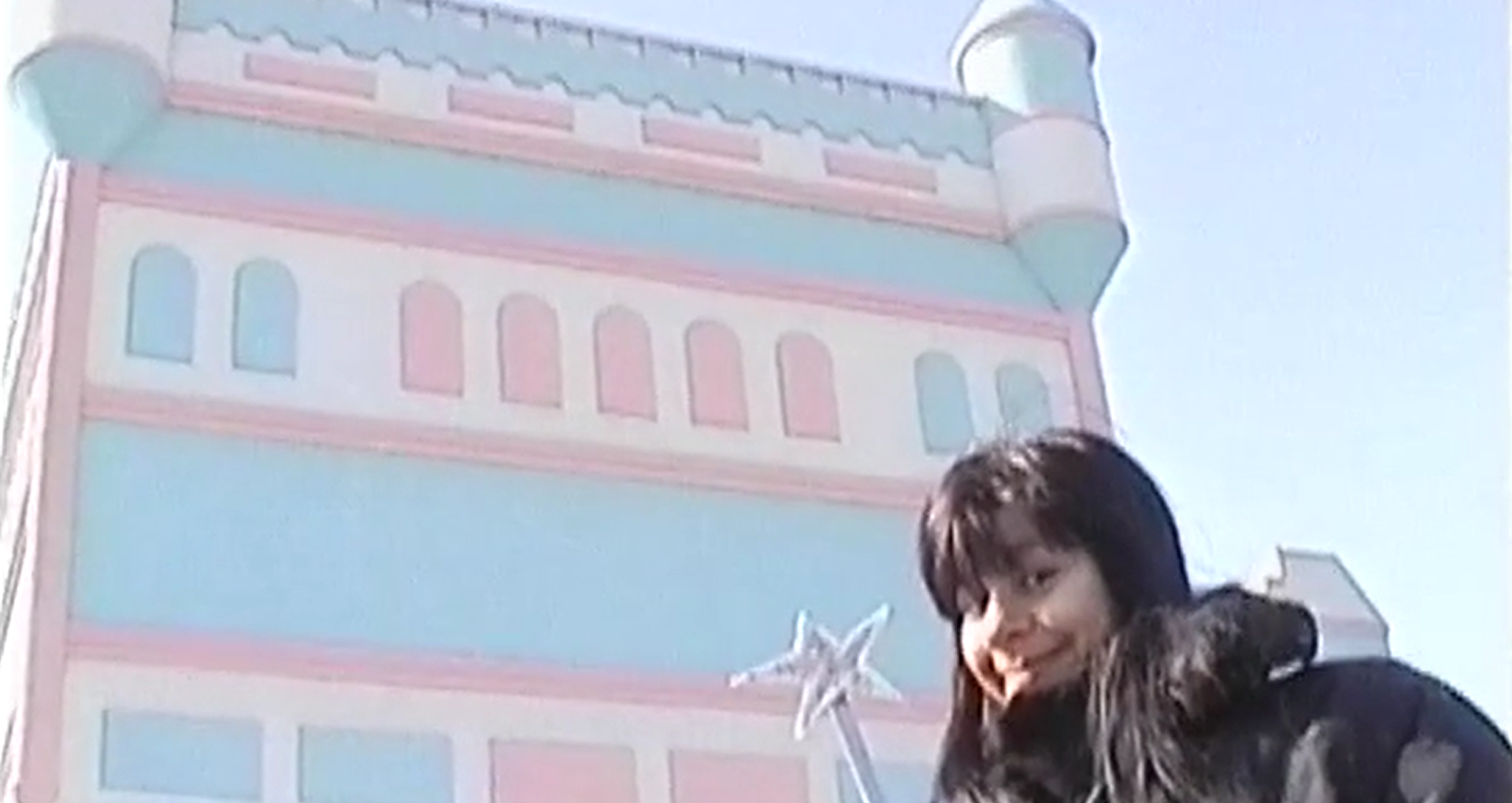 Giant blue and pin castle, with a brown hair woman in front of it