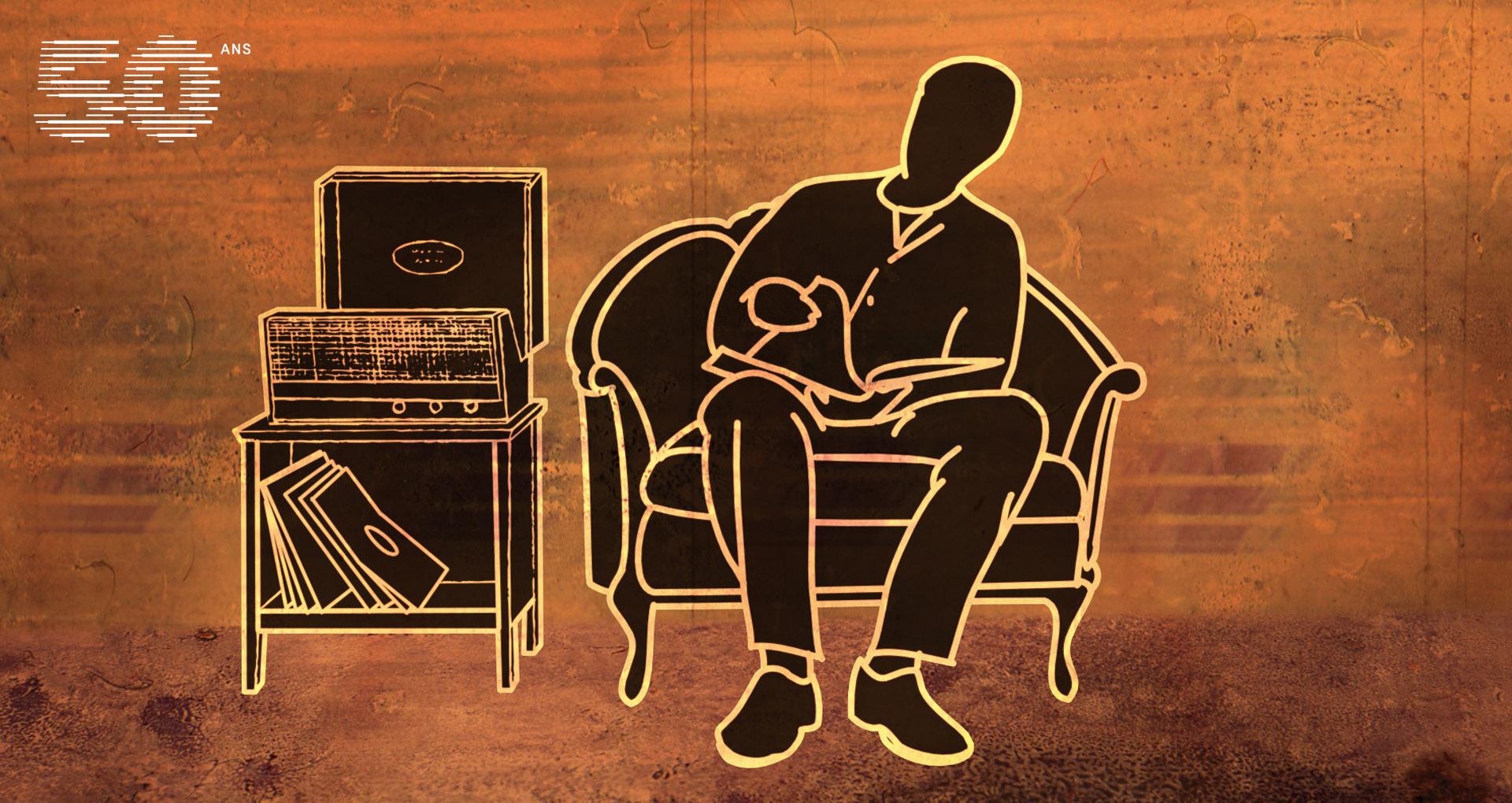 image couleur sépia, un homme assis dans un fauteuil